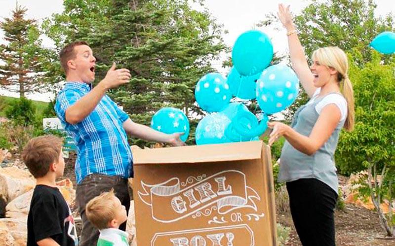 caixa de balões para chá de revelação