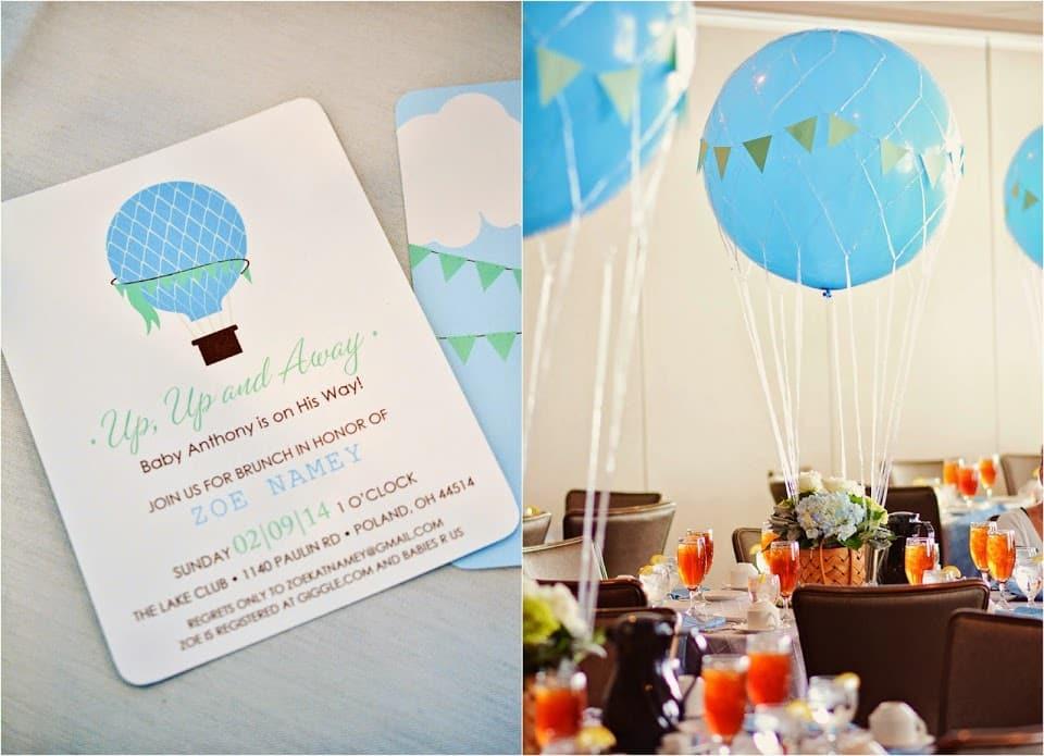 Decoração de chá de bebê: convites com balões